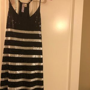 Black and white sequined Alya dress.